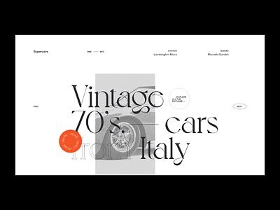 Vintage 70's cars — Website concept typography vintage car grid concept photos web design layout minimal ui