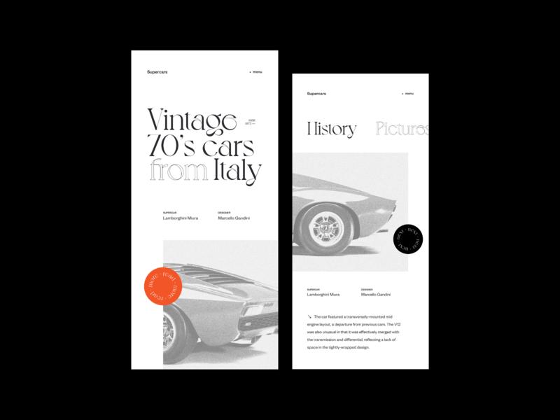 Vintage 70's cars — mobile version mobile vintage fashion grid concept photos web design layout minimal ui