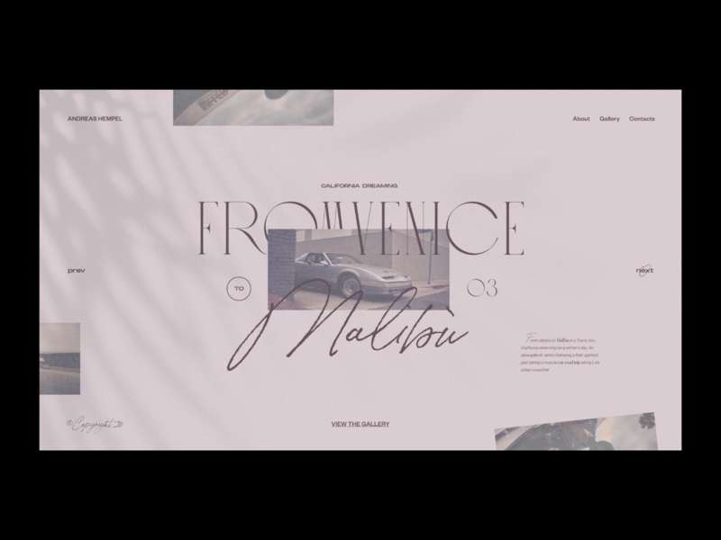 Venice to Malibù — Photography website concept fashion photos web design ui layout typography minimal car trip summer elegant malibu california grid photo