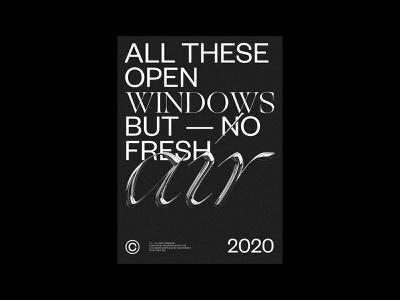 NO FRESH AIR — 3D Typography poster 3d black minimal serif typography poster