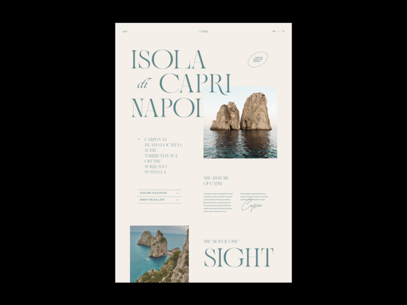 Capri Island — Website Concept user interface typography concept photos web design layout ui minimal