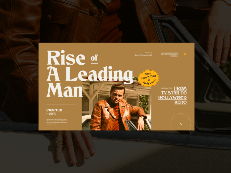 Once Upon A Time In Hollywood — Website concept tarantino typography concept photos web design layout ui