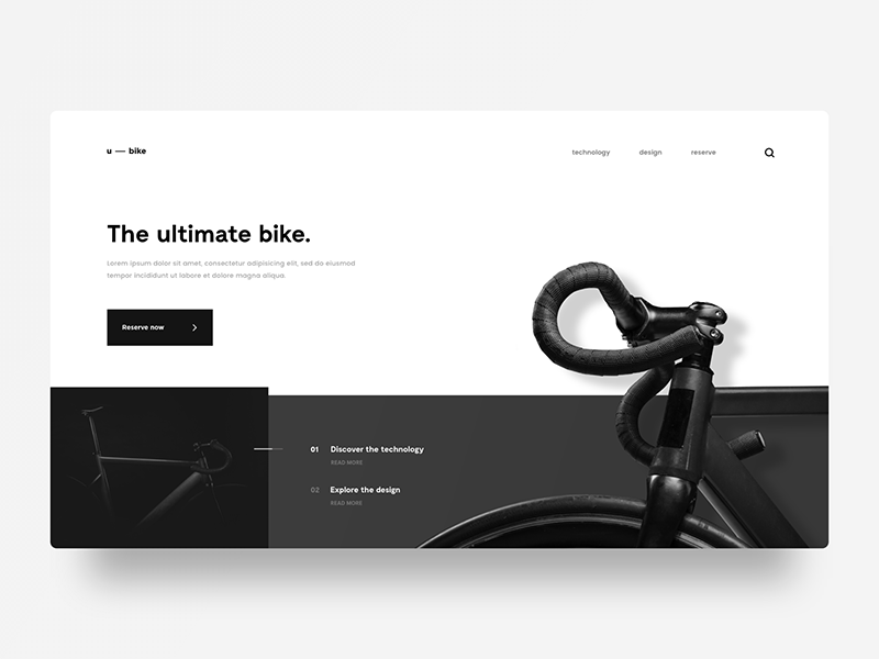 Ultimate Bike photos layout user interface minimal web design bike ui
