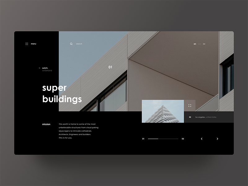 Super Buildings grid web design user interface ui photos minimal layout architecture