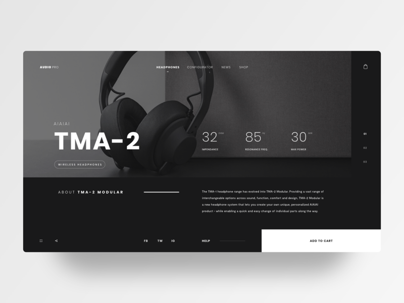 TMA-2 HEADPHONES web design ui dark minimal grid layout grid headphones concept audio