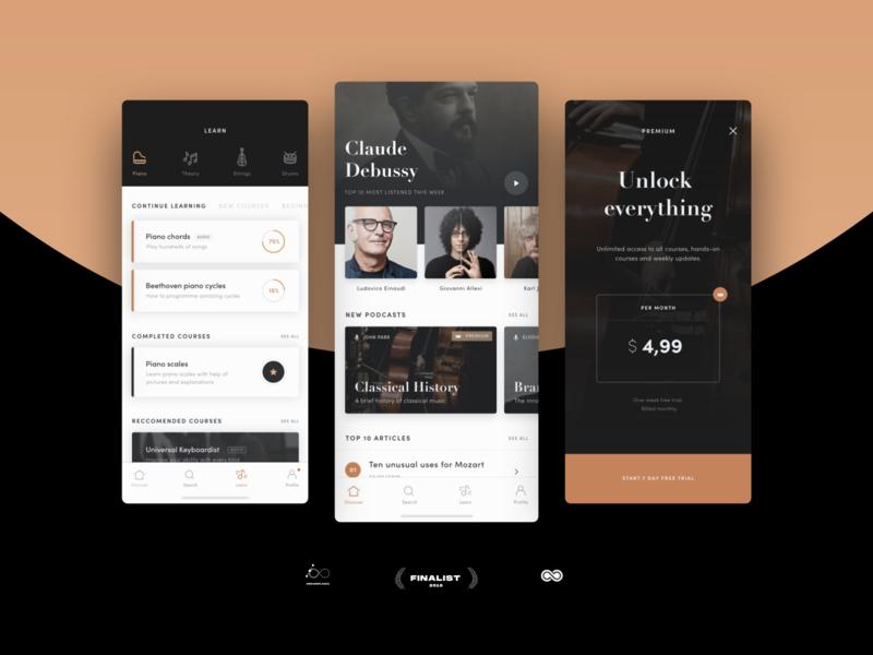 Classica — App design for #designflow 2019 listen premium learn music ui layout elegant minimal app classical music designflow
