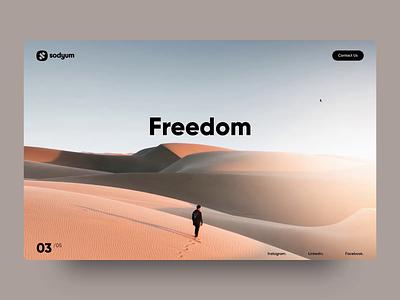Freedom design logo animated sodyum sand desert website ux ui animation sketch invision studio parallax