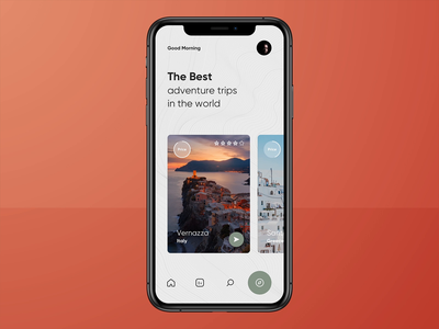 Trip App🏕#2 sketch principle interaction ixd gif booking app iphone concept adventure animated mobile app flat design application motion ux ui animation