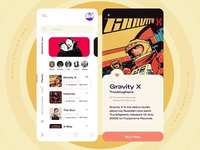 Music albums app concept design ui concept figmadesign figma dailyui rock fuzz stoner app design album music