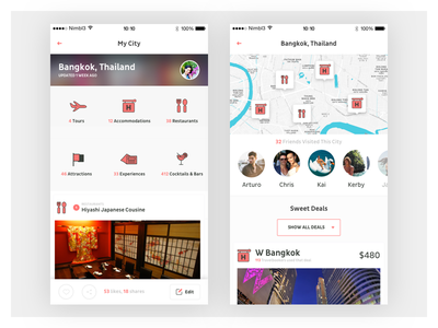 City Check-Ins city checkin mobile application interaction project travel white clean new visual design ux ui