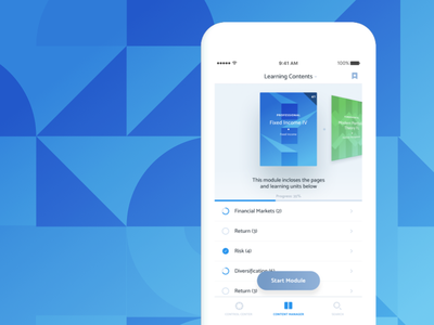 Fineo - Financial Education platform book swiss clean visual design interface learning education ios app ux ui