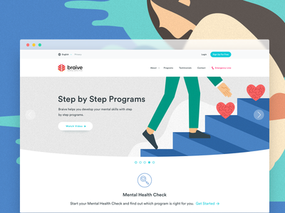 Braive - Building Healthy Minds minimal web white ux ui landing mental health lms learning clean