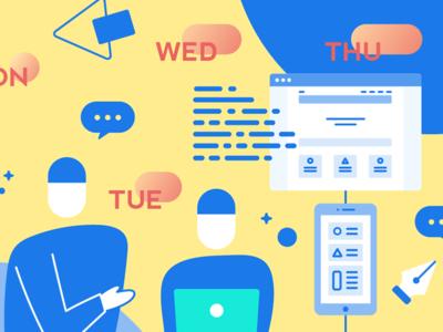 Working with Nimbl3 week blog medium illustration corporate team working