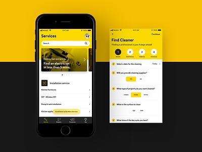 VFix new light black yellow interface design visual design android mobile ios app ui ux