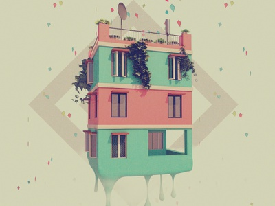 A Certain House In Delhi, Melting Away. india delhi illustration 3d c4d cinema4d melt house summer