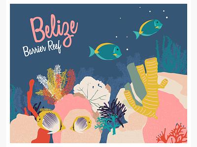 Heritage in danger - Belize Barrier Reef vector illustration postcard sea illustration