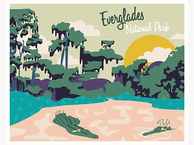 Heritage in Danger - Everglades animals landscape postcard vector illustration illustration