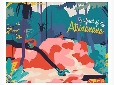 Heritage in Danger - Rainforest of the Atsinanana landscape forest postcard vector illustration illustration