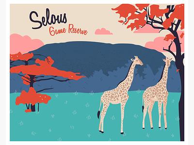 Heritage in Danger - Selous Game Reserve animals postcard landscape vector illustration illustration