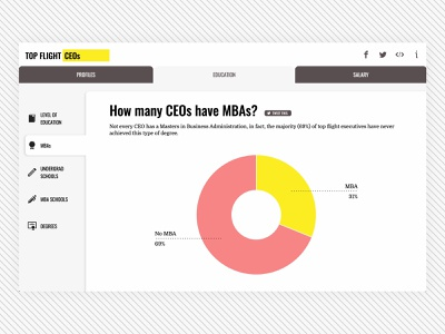 Top Flight CEOs - MBAs Graph pink yellow web design donut chart donut graph graph dataviz data