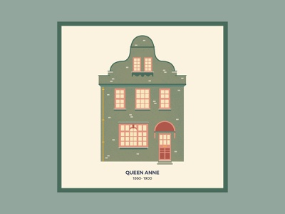 Brits and Mortar 2/3 postcard poster building england uk green house illustration vectorial illustration drawing vector architecture housing house