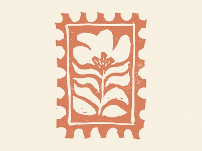 Flower Block Print Stamp carving print design photoshop cut out flower illustration mail letter bitmap linoprint floral linocut block print flower stamp