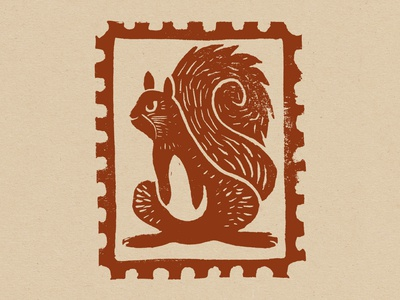 Squirrel Block Print Stamp animal woodland linocut carving print block print letter mail design stamp design stamp squirrel
