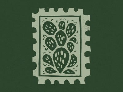 Cactus Block Print Stamp green texture plant block print carving linocut stamp design stamp prickly pear cactus