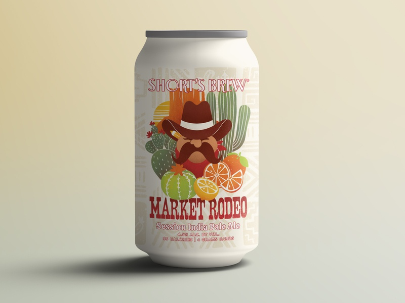 Market Rodeo IPA Mockup procreate illustration prickly pear mountain wild west southwest ipa mustache sunset orange lemon cactus arizona cowboy rodeo beer branding beer can design beer label beer can beer