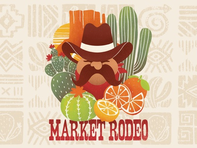 Market Rodeo Beer Illustration beer label beer citrus orange lemon prickly pear cowboy hat sunset sun sedona mountain cacti cactus arizona southwest wild west mustache cowboy rodeo market
