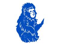 Rubber Block-Print Snow Monkey