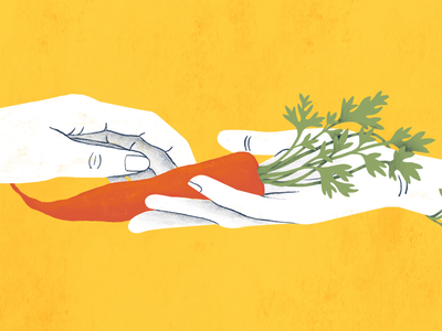 Food-focused Clients Blog Header illustration procreate yellow sharing share give community non-profit food carrot hand hands