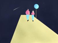 Walking in space dribbble