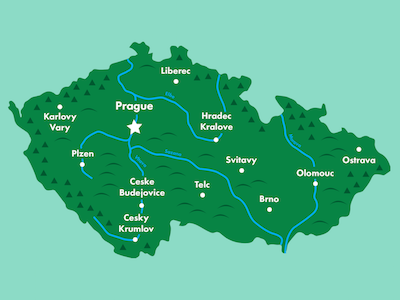 Má vlast  česko czechia illustration cartography map prague czech republic