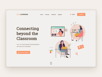 E-learning Platform - Landing page edtech india tutor student teaching learning management system school science madewithsketch 23sense illustraion hero webdesign onlineeducation education course elearning