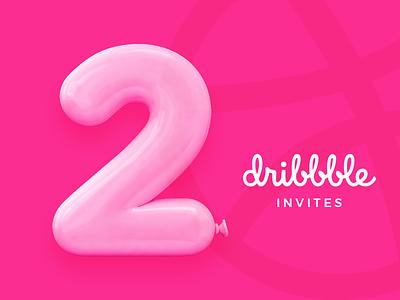 2 Dribbble Invitation dribbble invite balloon dribbbleinvite giveaway game pink draft