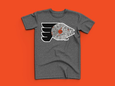 Philadelphia Flyers Star Wars Day Shirt sports t-shirt millenium falcon starwars disney nhl flyers philadelphia hand drawn illustration