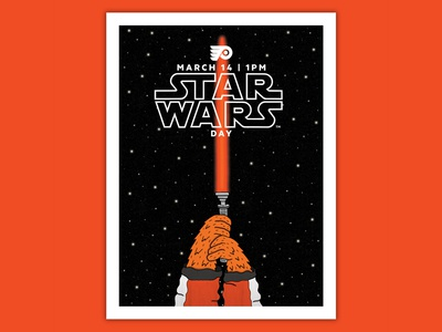 Philadelphia Flyers Star Wars Day Poster poster de nhl hockey gritty flyers star wars philadelphia hand drawn illustration