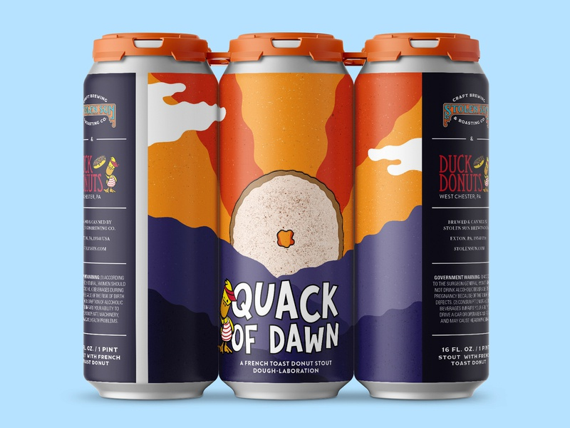 Quack of Dawn sunrise packaging beer art donuts beer can beer label hand drawn illustration