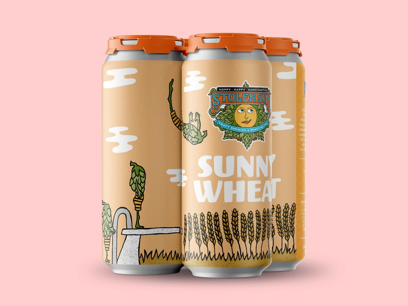 Sunny Wheat hops packaging beer branding beer label beer art beer can hand drawn illustration