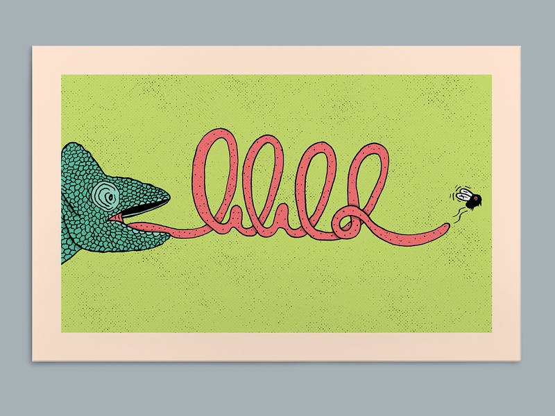 WILD poster a day poster art lizard chameleon typography hand type hand drawn illustration