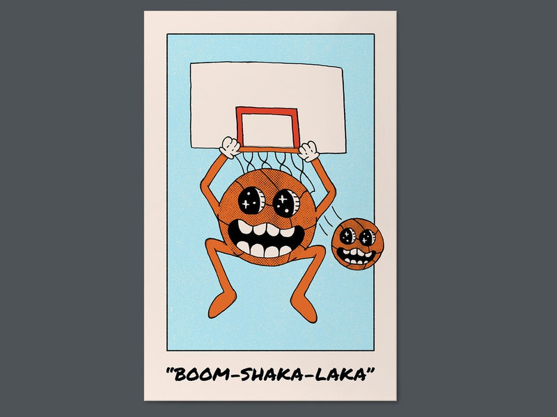 """BOOM-SHAKA-LAKA"" poster a day poster design poster art dunking dunk sports basketball hand drawn illustration"