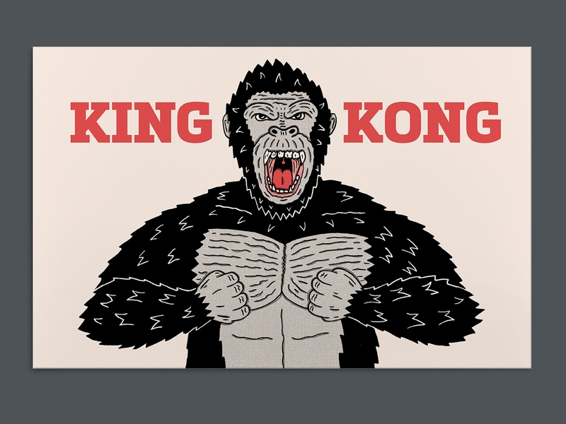 King Kong movie art jungle gorilla king kong poster a day poster art hand drawn illustration