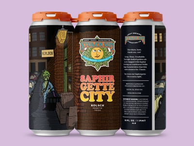 Saphirgette City beer branding kolsch beer can packaging david bowie ziggy stardust beer label beer art hand drawn illustration