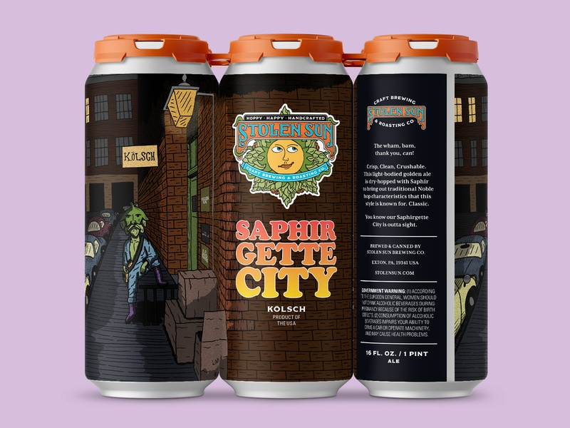 Saphirgette City beer branding kolsch beer can packaging david bowie ziggy stardust beer label beer art hand drawn illustration