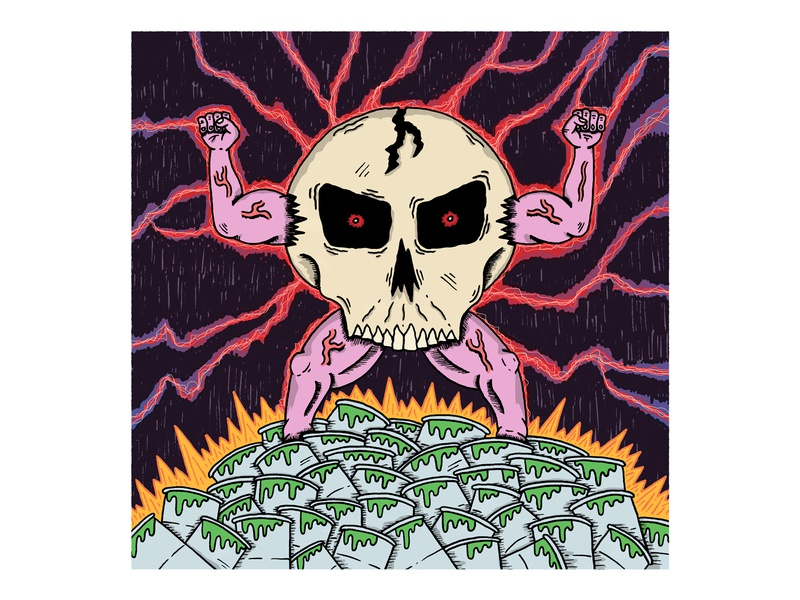 Skull Man cartoon nuclear lightning evil muscles flexing comic art comic skull hand drawn illustration