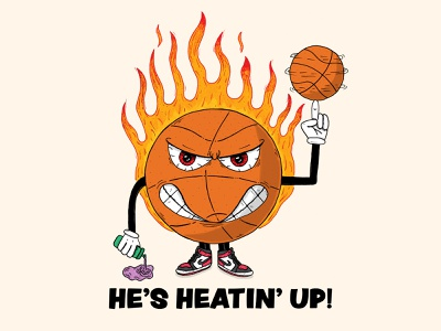 He's Heatin' Up! sports jordans jordan 1s nba jam basketball nba hand drawn illustration