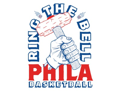 RING THE BELL nba shirt design sixers 76ers basketball philadelphia typography hand drawn illustration