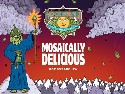 Mosaically Delicious mountains wizard hops beer branding beer label beer art hand drawn illustration