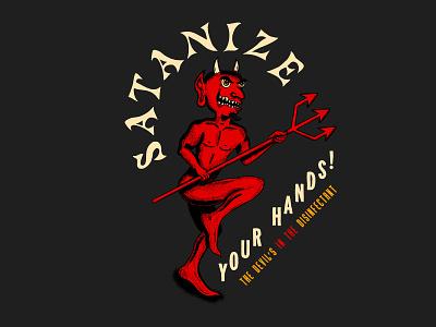 Hand Satanizer funny branding satanic procreate pitchfork satan devil hand type hand drawn illustration